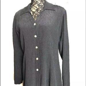ISDA Tops - ISDA & Co Black Silk Crinkle V Neck L/Sleeve Tunic